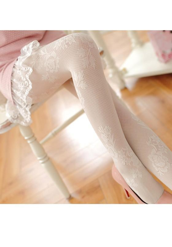 White Floral Fishinet Hollow-out Lace Elastic Waist Mid-rise See-through Legging
