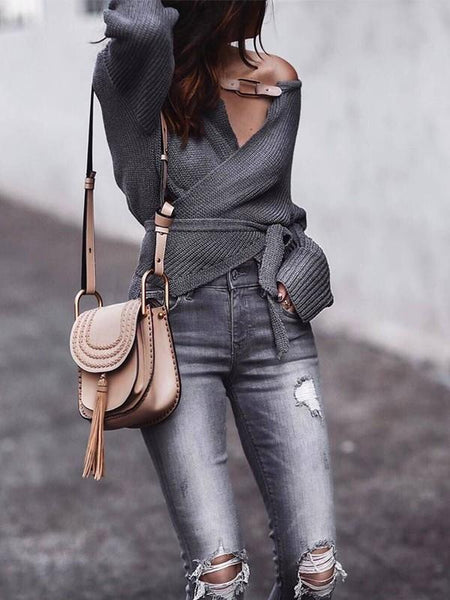 New Grey Belt V-neck Fashion Pullover Sweater