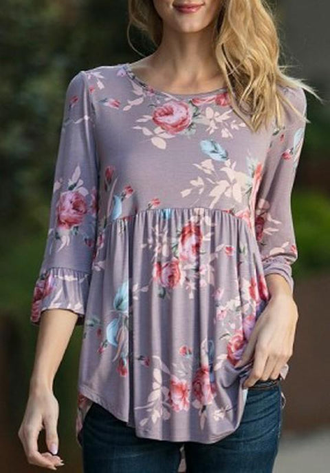 DaysCloth Purple Flowers Irregular 3/4 Sleeve Round Neck Casual Blouse