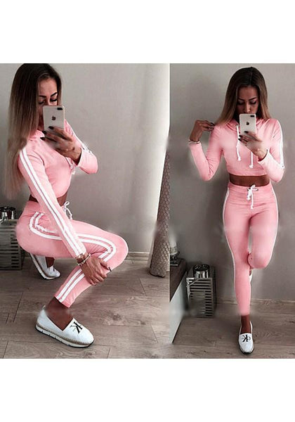 Pink Striped Crop 2-in-1 Drawstring Waist Fashion Nine's Jumpsuit