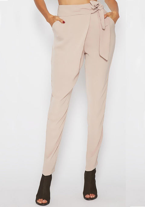 DaysCloth Beige Pockets Sashes Lace-up High Waisted Casual Work Up Pencil Long Pants
