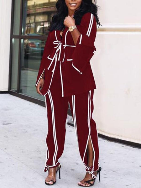 New Burgundy Striped Pockets Sashes Turndown Collar Flare Sleeve Office Worker Long Jumpsuit