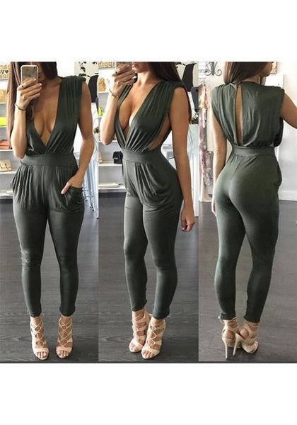 Army Green Pleated Deep V-neck Backless Casual Long Jumpsuit