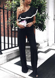 Black Ruffle Asymmetric Shoulder High Waisted Wide Leg Long Jumpsuit