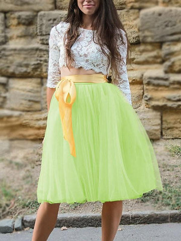 DaysCloth Yellow Patchwork Grenadine Pleated Plus Size High Waisted Tutu Cute Homecoming Party Skirt