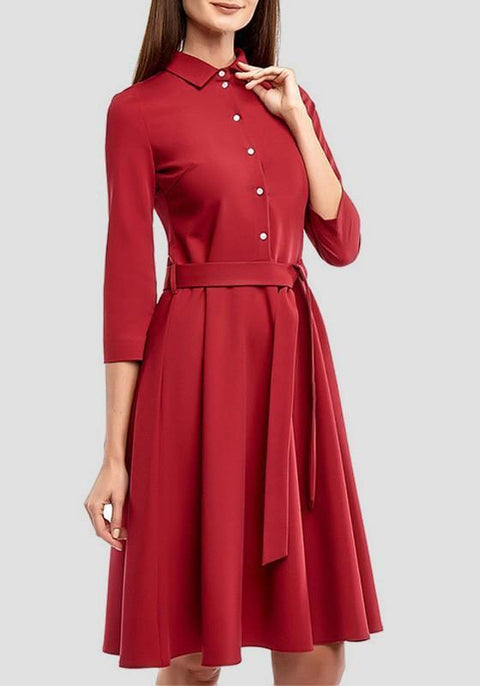 DaysCloth Red Single Breasted Draped Sashes 3/4 Sleeve Elegant Midi Dress
