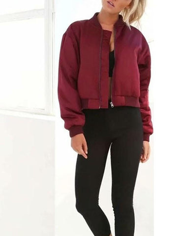Red Pockets Zipper Long Sleeve Casual Jacket