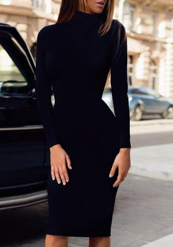 Black Irregular Band Collar High Neck Long Sleeve Midi Dress