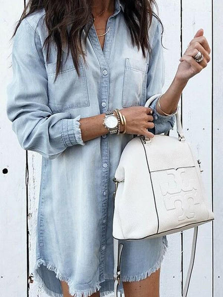 New Light Blue Buttons Turndown Collar Long Sleeve Fashion Blouse