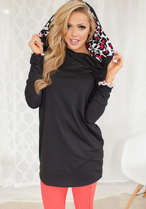 DaysCloth Black Leopard Print Hooded Long Sleeve Fashion Pullover Sweatshirt