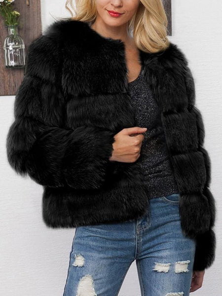 New Black Faux Fur Round Neck Long Sleeve Fashion Coat