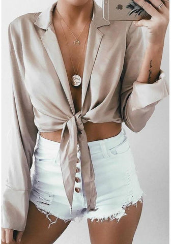 Apricot Irregular Turndown Collar Long Sleeve Fashion Blouse
