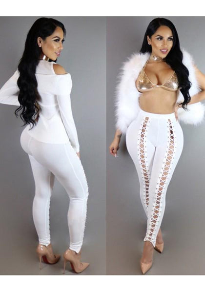 New White Cut Out High Waisted Cross Lace Up Long Pants
