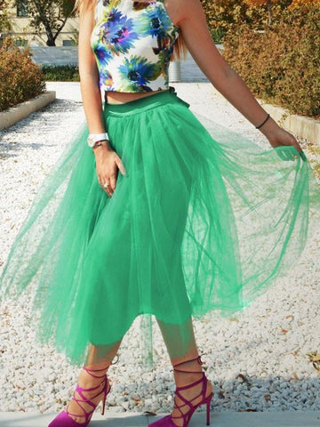 DaysCloth Green Patchwork Grenadine Pleated Plus Size High Waisted Tutu Cute Homecoming Party Skirt