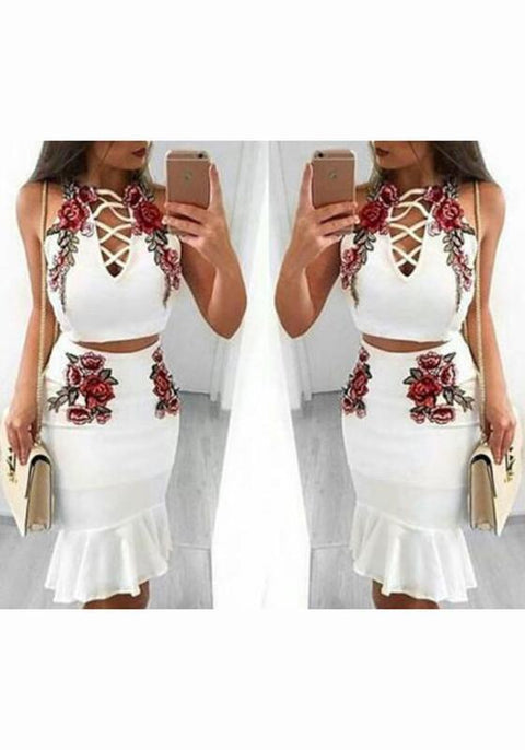 DaysCloth White Floral Embroidery Condole Belt Drawstring Two Piece Party Midi Dress