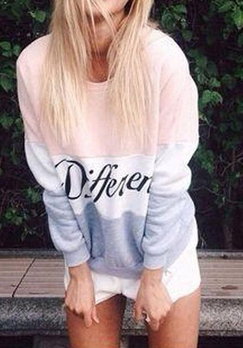 DaysCloth Pink Color Block Letter Print Round Neck Casual Pullover Sweatshirt