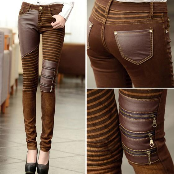 Brown Patchwork Zipper Cascading Ruffle Button Fly Fashion Long Pants