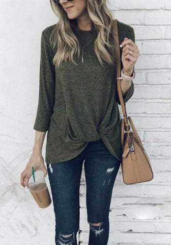 Green Irregular Three Quarter Length Sleeve Round Neck Casual Blouse