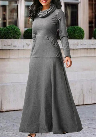 Grey Draped Zipper Pockets Cowl Neck High Waisted Casual Maxi Dress