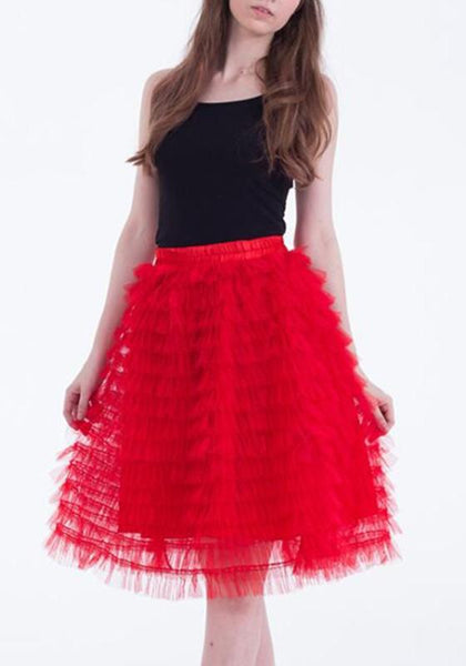 New Red Irregular Grenadine Elastic Waist Midi Party Skirt