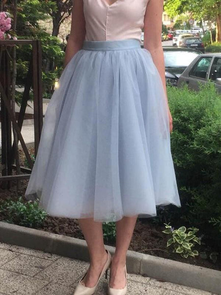 New Grey Grenadine Pleated High Waisted Tulle Tutu Homecoming Party Cute Elegant Midi Skirt