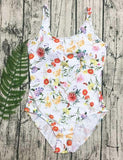 Cute One Piece Floral Print Swimwear