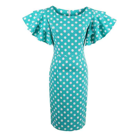 DaysCloth Petal Sleeve Cute Polka Dot Female Sheath Round Neck Slim Dresses