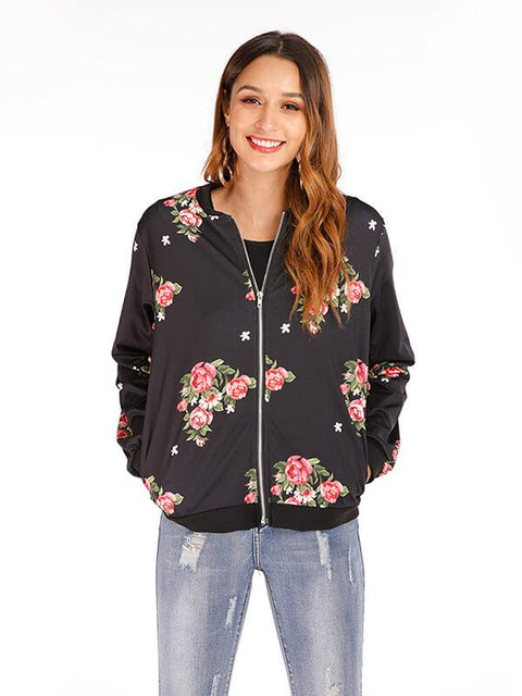 DaysCloth Plus Size Spring Women's Jackets Retro Floral Printed Coat Female Long Sleeve Outwear Clothes Short Bomber Jacket Tops 5XL