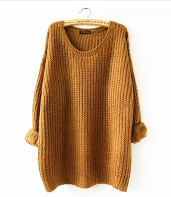 Fall Sweater Long Sleeve Dipped Hem Oversized Loose Sweater