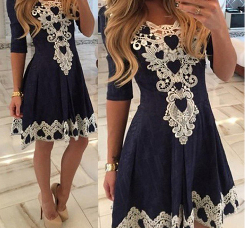 DaysCloth Cute Trendy Tribal Lace Embroidered Three Fourth Sleeve Pleated Mini Skater Dress - Navy