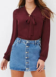 Tie Front Flared Sleeve Cropped Chiffon Shirt