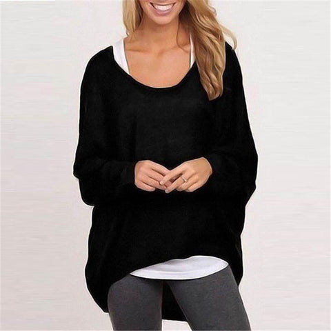 DaysCloth Women's Casual Pure Color Oversize Sweater Top