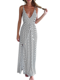Sexy Deep V Plunge Monochrome Striped Maxi Dress