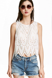 Summer Women Blouse Embroidery Hollow Vest Casual Blouse Tops