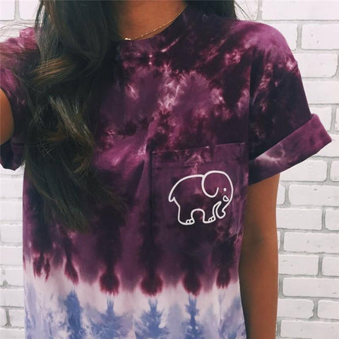 DaysCloth Tie Dye Gradient Elephant T Shirt - Purple