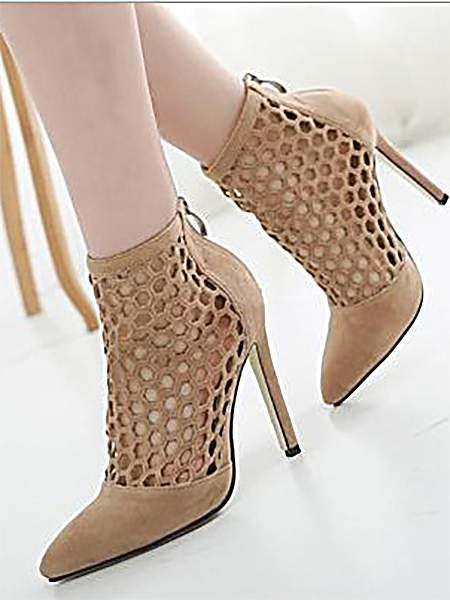 Beige Cut Out Detail Heeled Sandals
