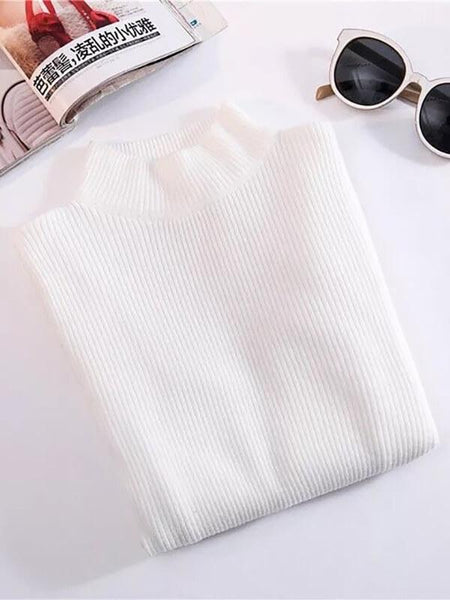 Autumn Turtleneck Pullovers Sweaters Primer Shirt Long Sleeve Sweater Korean Slim Fit Tight Sweater