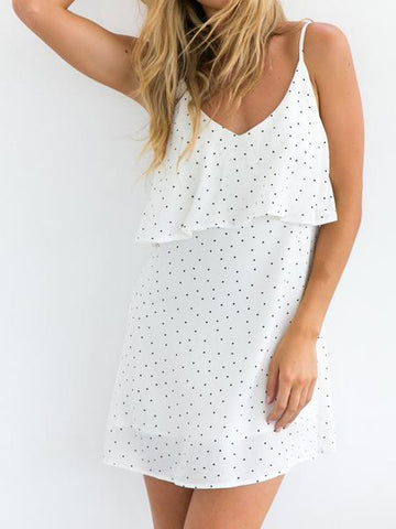 DaysCloth White V-neck Polka Dot Layered Top Backless Cami Dress