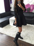 Black Round Neck Half Sleeve Scuba Skater Dress