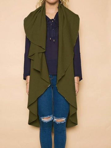 Army Green Wide Lapel Longline Sleeveless Jacket