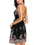 Black Spaghetti Strap Sequin Detail Open Back Mini Dress