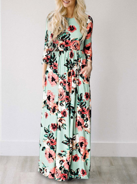 DaysCloth Ecstatic Harmony Green Mint Classic Rose Print Maxi Dress