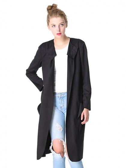 DaysCloth Black Faux Suede Open Front Long Sleeve Trench Coat