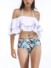 DaysCloth White Halter Ruffle Trim Bikini Top And High Waist Bottom