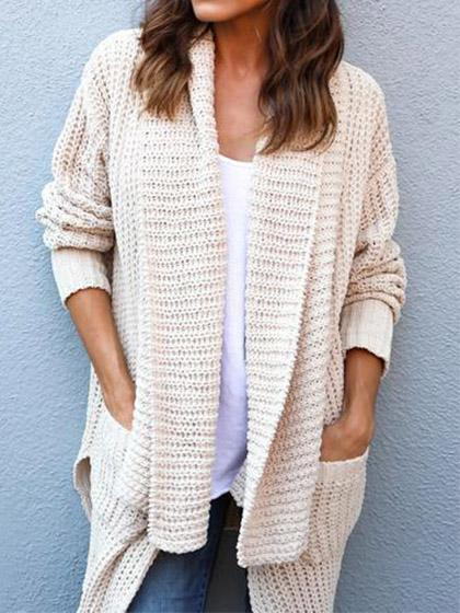 DaysCloth Beige Open Front Long Sleeve Chunky Cardigan
