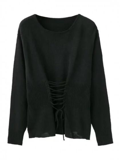 DaysCloth Black Lace Up Detail Long Sleeve Knit Jumper