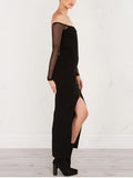 Black Off Shoulder Sheer Mesh Panel Long Sleeve Dress