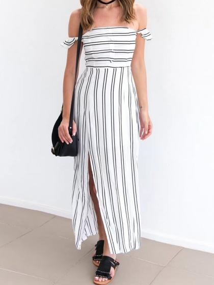 DaysCloth White Stripe Off Shouledr Side Split Maxi Dress
