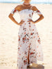 DaysCloth White Off Shoulder Floral Print Tie Back Split Maxi Dress