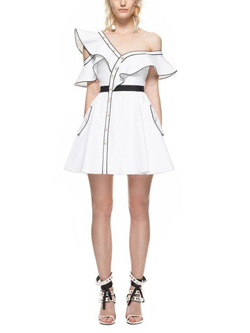 White One Shoulder Ruffle Trim Mini Dress